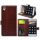FOSO(TM) OnePlus X High Quality PU Leather Magnetic Flip Cover Case [One Plus X] (Royal Brown)