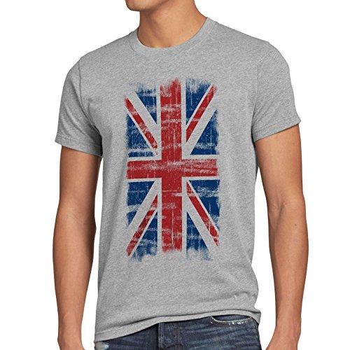 CottonCloud Union Jack England Vintage Flagge Herren T-Shirt Grau Meliert