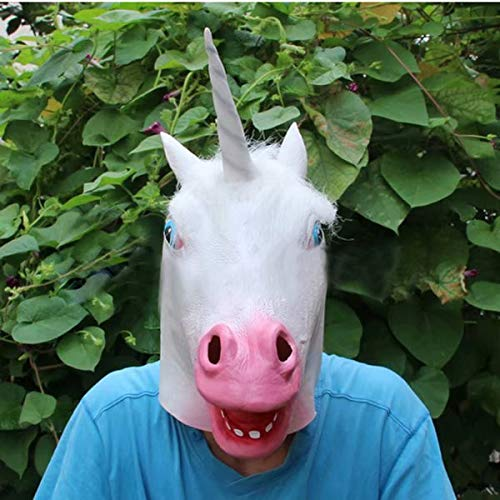 Kungfu Mall Magisches Kostüm Party Halloween Erwachsene Einhorn Latex Kopfmaske (Magische Einhorn Für Erwachsene Kostüm)