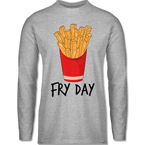 Shirtracer Statement Shirts - Fry Day - Pommes Frites - Herren Langarmshirt Grau Meliert
