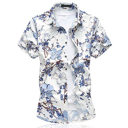 Mirecoo Herren Urlaub Hawaiihemd mit Blumen-Print Kurzarm T-Shirt Hemd c54992ae55