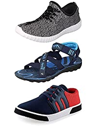 Maddy Perfect Combo Of Sport Shoes, Sneaker & Sandal For Men Pack Of 3 In Various Sizes