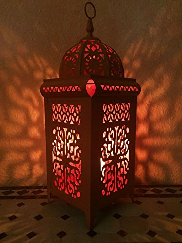 Mediterrane Marokkanische Laterne Eisenlaterne Safiye 41cm (Orange) (Große Marokkanische Laterne Kerze)