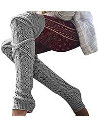 Samber Calcetines Largas para Mujer de Invierno Otoño y Primavera Leggings Tejidos de Color Sólido de Moda
