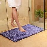 Rutschfeste Badematte Badteppich aus Mikrofaser Chenille Teppich für Badezimmer size 50x80 cm (Lila)