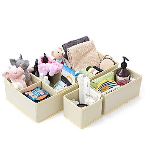 EZOWare Juego de 6 Caja de Almacenaje Organizador Multiuso, Separador de Cajones para Armarios, Cajones, Vestidores, Ropa Interior, Accesorios para Bebe, Beige