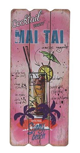 "Schild aus Holz \""Mai Tai\"" Cocktail China Rezept Nostalgie MDF Deko Bild Vintage Shabby ca. 34cm"