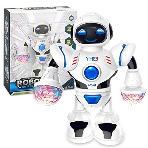 Besteffie Roboter-Spielzeug mit Buntem LED-Licht, elektronisches Wandern, Tanzspielzeug, Roboter, bewegliche Arme mit Musik Beleuchtung, Robotik für Kinder