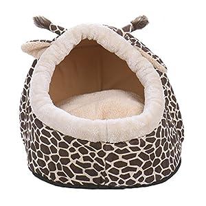 Niche Panier Maison en Forme de Girafe avec Un Coussin pour Chien ou Chat de Petite Taille ou Taille Moyenne 42*40*30 cm