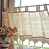 Baumwolle und leinen halben Vorhang,Kaffee-Vorhang,Schiere elegant bestickte kleine Kurze Vorhang,Für Hotel Schlafsaal Ohne stab-A 150x45cm(59x18inch)