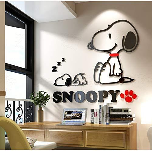 Wandaufkleber Acryl Cartoon Snoopy für Wand 3D Aufkleber 4 Größen Wandaufkleber für Kinder Zimmer Welpen Hund (Dekorationen Snoopy Geburtstag)