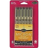 #3: Sakura 50038 6-Piece Pigma Micron-05 Ink Pen Set, 0.45mm, Black
