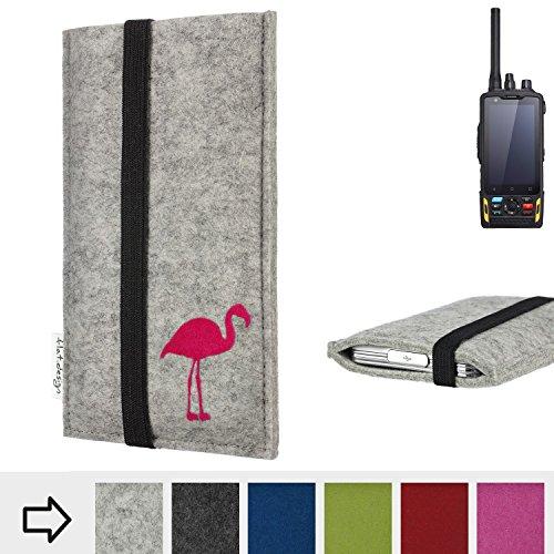 flat.design Handytasche Coimbra mit Flamingo und Gummiband-Verschluss für Ruggear RG760 - Schutz Case Etui Filz Made in Germany in hellgrau schwarz pink - passgenaue Handy Hülle für Ruggear RG760