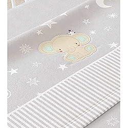 Juego de sábanas de sedalina bordada para cuna - 3 piezas - Mod. MIMU (Gris)