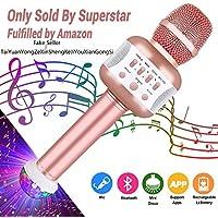 Leeron Microfono Karaoke Bluetooth con Altoparlante Microfono Wireless Karaoke Bambini batteria AUX Portatile 4.1 wireless Karaoke per PC