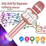 Leeron Microfono Karaoke Bluetooth con Altoparlante Microfono Wireless Karaoke Bambini batteria AUX Portatile 4.1 wireless Karaoke per PC, laptop, iPhone, iPad, smartphone Android (Oro Rosa)