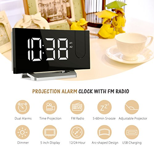 Mpow Projection Alarm Clock with FM Radio, Dual Alarms Digital Ceiling Clock - USB Charging Port, Snooze Function, 2-inch Large LED Display, Dimmer, Sleep Timer, 12/24 Hour, Mains Power