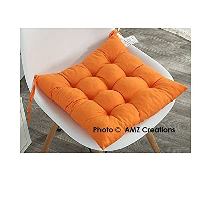 Amz Premium Microfibre Chair Pad Cushion Seat Pads Seat Cushion Indoor Outdoor Dining Home Office Garden Decor 15 X 15 Inches Orange
