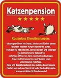 Fun Schild, Blechschild Alu geprägt + bedruckt Spruch /NEU/ Katzenpension !