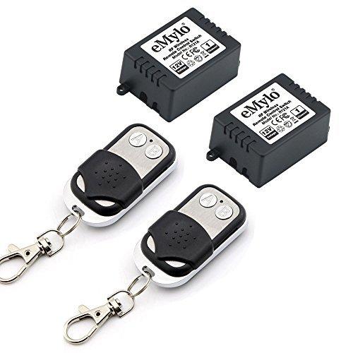 emylo® DC 12V One Transmitter 2x 1Kanal Smart Kabellose Fernbedienung Empfänger Lichtschalter Sender (Zwei-kanal-fernbedienung)