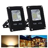 VINGO® 10W LED Fluter Flutlicht Außen Strahler Scheinwerfer IP65 Warmweiß 2er Pack