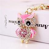 EoamIk Eule Anhänger Metall Schlüsselanhänger Geldbörse Handtasche Auto Charme Keychain Geschenk (Pink)