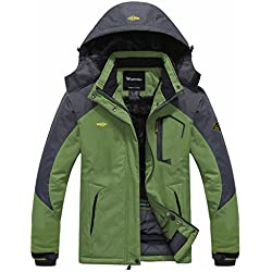 Wantdo Femme Anorak Veste de Ski Imperméable Doublure en Polaire Coupe-Vent à Capuche Amovible Coupe-Pluie Vert FR:XXL (Taille Fabricant:XL)