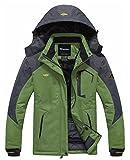 Wantdo Femme Anorak Veste de Ski Imperméable Doublure en Polaire Coupe-Vent à Capuche Amovible Coupe-Pluie Vert FR:XL (Taille Fabricant:L)