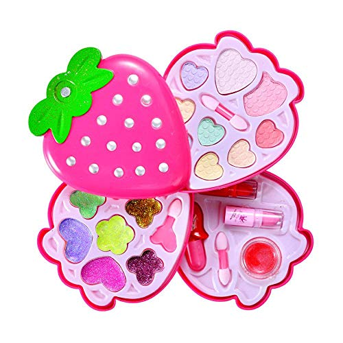 AOLVO Mein Erstes Make Up Set Strawberry Pretend Make-up Set Kosmetik Beauty Salon Spielzeug, Mode Kosmetik Kids Make-up Kit, Ideales Geschenk für Mädchen