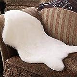 wyz Faux Schaffellteppich Soft Hairy Teppich Stuhl Abdeckung Sitzbereich Teppiche Schlafzimmer Matte (60 x 91cm) (Weiß)