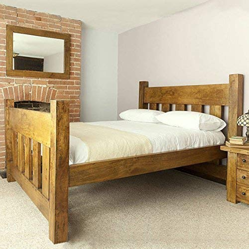 HANDMADE CHUNKY REDWOOD PINE WOOD SLATTED PANEL SINGLE DOUBLE SUPER KING SIZE BED FRAME, CAN BE CUSTOM MADE