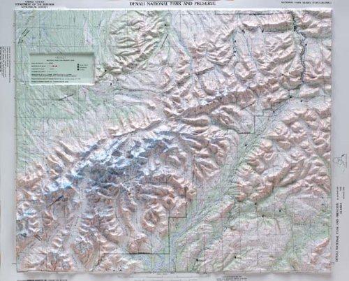 Denali National Park Reliefkarte mit Eiche Holz Rahmen