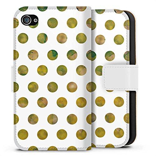 Apple iPhone X Silikon Hülle Case Schutzhülle Muster Punkte Frühling Sideflip Tasche weiß