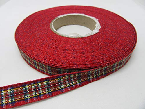Beautiful Ribbon 1 Rouleau de 10 mm x 25 m Ruban Motif Tartan Royal Stewart Rouge Classique Double Face 10mm