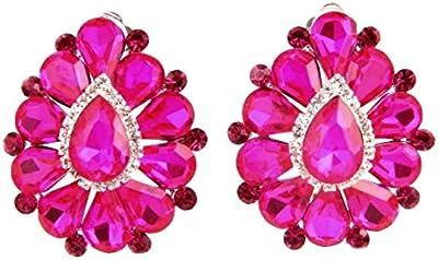 Mega Glamour grandes pendientes clips clips Clip On Pendientes transparentes Rosa Fucsia 3,8x 3,2cm