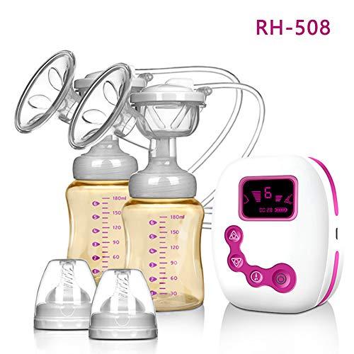 Tiralatte elettrico - BPA-Free USB Dual Breast Pump Safety Comodo e leggero Massaggio automatico dopo il parto con pompa per il seno, 180ml di bottiglia per il latte con coperchio e capezzolo,Pink
