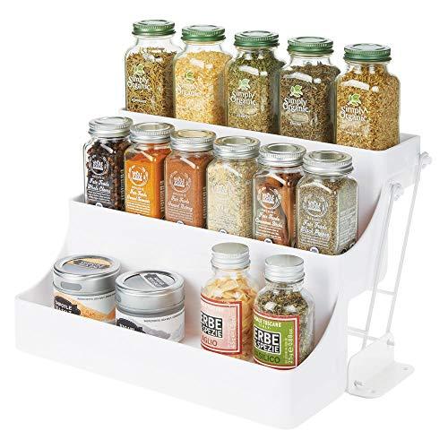 Mdesign portaspezie estraibile su 3 ripiani per cucina e dispensa – pratico porta spezie in plastica senza bpa – organizzare al meglio i contenitori per spezie – bianco