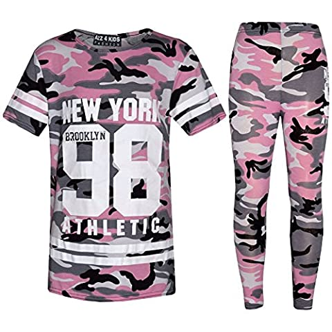 Girls NEW YORK BROOKLYN 98 ATHLETIC Camouflage T Shirt Top Legging Set 7-13 (11-12 Years, Baby Pink