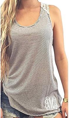 TININNA Mujeres Hueco Encaje Rayado Atractiva Ocasional Sin Mangas Tank Tops Chalecos Camisola Vest Verano de Tocar Fondo Chalecos Camisas Tops Sueltos