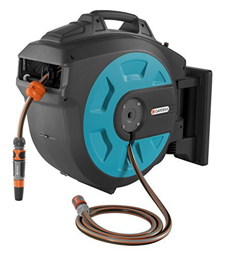 Gardena Wall-Mounted Hose Box 35 roll-up automatic: Swivelling hose reel, 35-m high-quality hose, short locking stops, including wall bracket, system parts, and spray nozzle (8024-20)