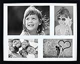 28 x 35 cm Mehrfach Bilderrahmen, Bildergalerie, Fotogalerie mit Passepartout und 4 Foto-Ausschnitten für 3 Fotos 10 x 15 cm und 1 Foto 14,8 x 21 cm (A5), Schwarz