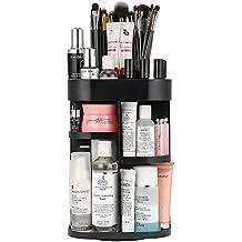 Jerrybox Organizador de Maquillaje de Cuadro, Negro | Organizador de Cosméticos con Rotación 360 Grados, Ajustable, Compartimento de Almacenamiento de Cosméticos con Múltiples Funciones, Tamaño Compacto con Gran Capacidad
