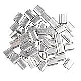 Fusd 50pz da 4mm, con fune metallica maniche alluminio ovale a forma di clip di piegatura anellini argentato