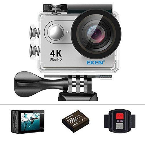 Eken h9r Action-Kamera 4 K 12 MP WLAN Sport-Ultra-HD Kamera, 30 m unter Wasser 170 ° Blickwinkel mit 2 Zoll-LCD-Bildschirm, 2,4 G-Fernbedienung - Silver 120fps Digital Video