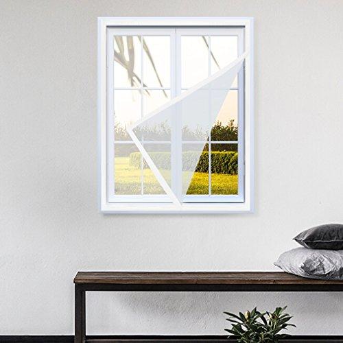KINLO 100*130cm weiss Anti Moskito Fenster Bildschirm Fliegengitter DIY Selbstklebende Vorhang mit Sticky Klettband 3-5Jahre Garantie Abnehmbar und waschbar (3 4 Klettband)