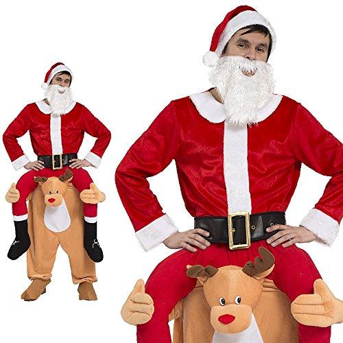 Piggyback Kostüm Herren Weihnachtsmann Nikolaus Rentier Elch Red Nose Ride On Trag mich Maskottchen JGA Stag Night (Kostüm Rentier)