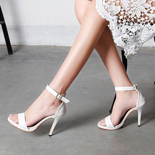 LvYuan-mxx Sandales femme / Printemps été / Décontracté Ankle Strap Cuir / talon aiguille talon pointu / Boucle / Bureau & Carrière Robe / Talons hauts 40-WHITE