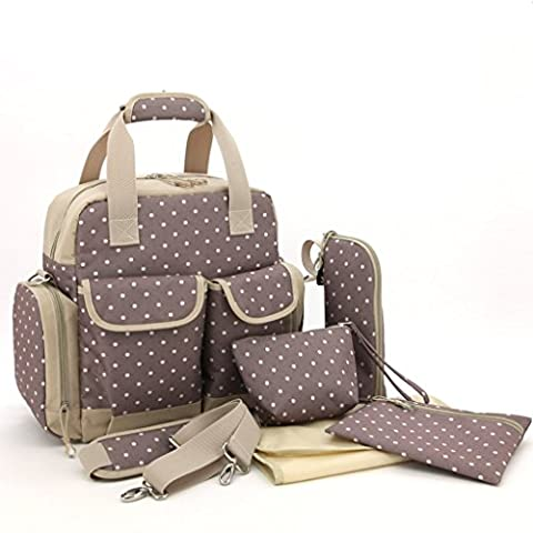 LCY Large 5pcs Backpack Baby Changing Bag 3 Carrying Options Khaki Dots