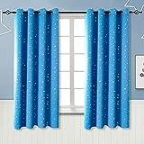 BGment Vorhänge Blickdicht Sterne mit Ösen Gardine Thermo isoliert für Baby, Kinderzimmer,Blau Verdunkelungsvorhänge 1 Paar (2X H 137 X B 117cm,Blau)