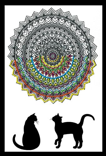 Zenbroidery Bedruckter Stoff Cat Mandala Stickerei Kit, Baumwolle, weiß - Mandala Colouring Kit